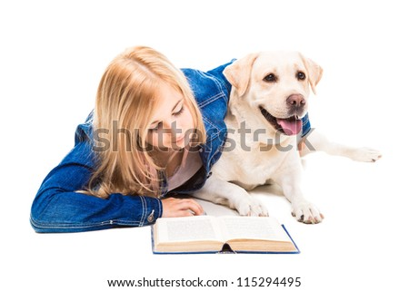 beautiful girl in blue reading a book with pale-yellow Labrador retriever dog on the isolated white background