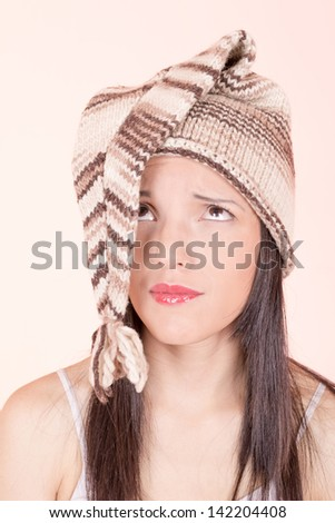 Beautiful Girl in Knitted Peruvian Hat
