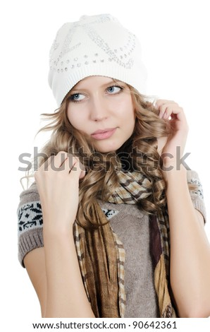 Beautiful girl in mittens isolated on  white