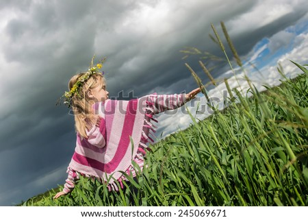 Beautiful girl  in rainy day