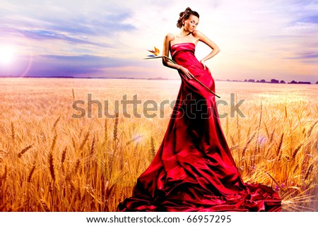 stock photo Beautiful girl in red dress Golden wheat ready for harvest