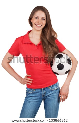 Beautiful girl in red t shirt with a soccer ball stock for Soccer girl problems t shirts