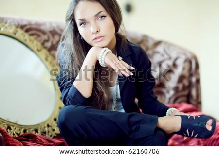 Beautiful girl in retro style