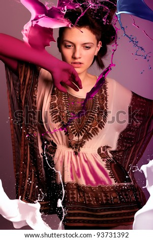beautiful girl in the bright lights - stock photo