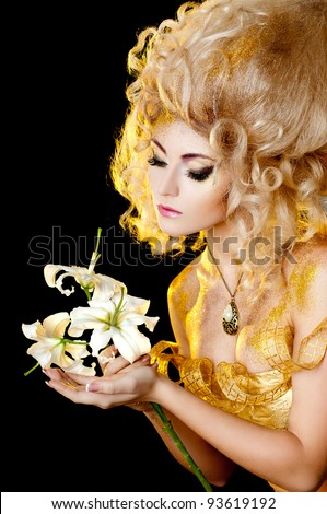 beautiful girl in the image of the golden queen