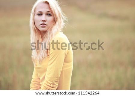 Beautiful Girl in the Meadow. non sun
