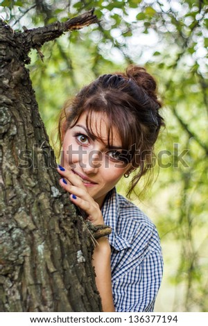 Beautiful girl in the woods