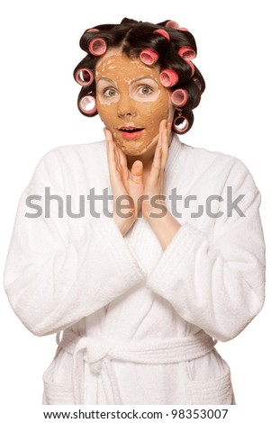 stock photo beautiful girl in white bath robe with clay facial mask and curler 98353007 A bedwetting teen back in diapers is a stressful situation both for the teen ...