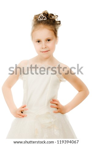Beautiful girl in white dress on a white background.