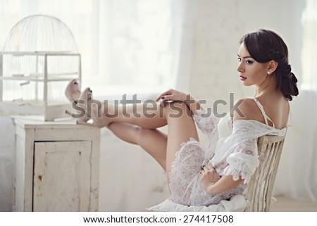 Beautiful girl in white underwear