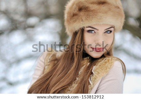 Beautiful girl in winter - close up  #153812912