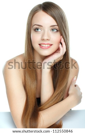 Beautiful girl, isolated on a white background, emotions, cosmetics