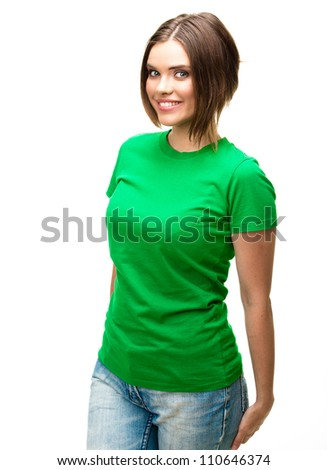 Beautiful girl isolated on white background . Green dressed .