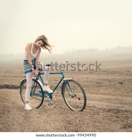 beautiful girl on a bicycle