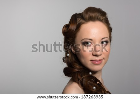 Beautiful Girl On A Gray Background Looking Away Mixed Race Asian