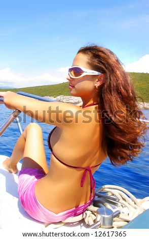 beautiful girl on speed boat