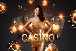 Beautiful girl on the background of the golden casino atrebutics. Winning, casino advertising template, gambling, vegas games, betting