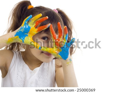 beautiful girl playing with colors on white background - stock photo