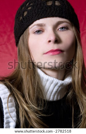 Beautiful girl portrait with black hat #2782518