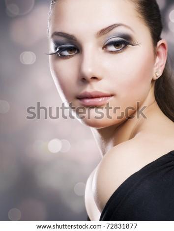 Beautiful Girl's Face. Perfect Makeup - stock photo