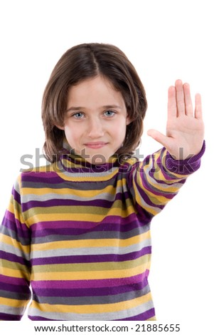 Beautiful girl saying stop with her hand on a white background