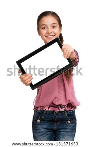 beautiful girl shows a screen Digital Tablet, isolated on white