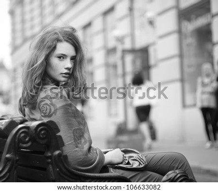 beautiful girl sitting in a rest