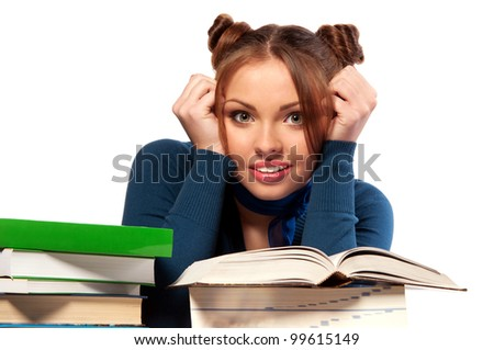 beautiful girl sitting in front of books, isolated background