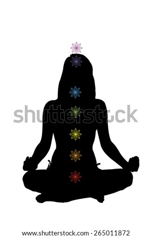 Beautiful girl sitting in lotus position with chackra illustration. Enlightenment, practice, yoga and consciousness. Stock photo ©
