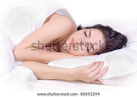 Beautiful girl sleep on bed