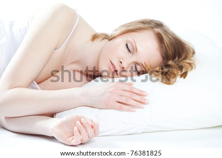 beautiful girl sleeps - stock photo