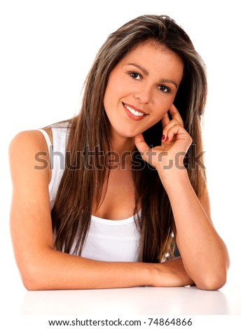 Beautiful girl smiling - isolated over a white background