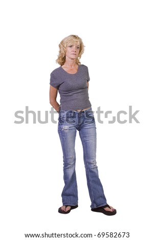 Beautiful Girl Standing Up on an Isolated Background