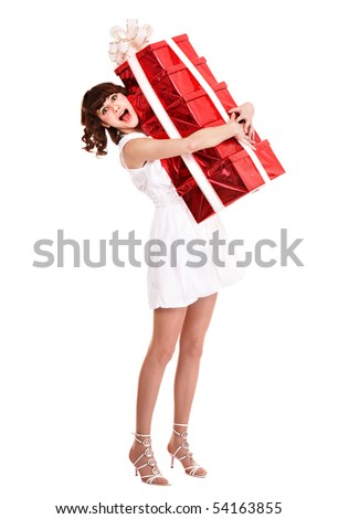 Beautiful girl taking stack of gift box. Isolated.