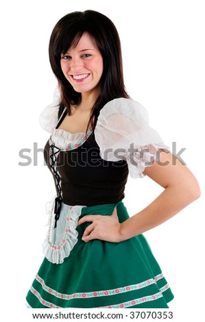 Beautiful Girl Wearing A Traditional Costume For St Patrick's Day And Oktoberfest