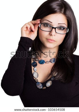 beautiful girl wearing glasses