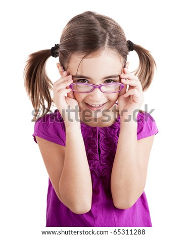 Beautiful girl wearing glasses isolated on white