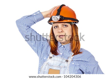 beautiful girl with a construction helmet isolated