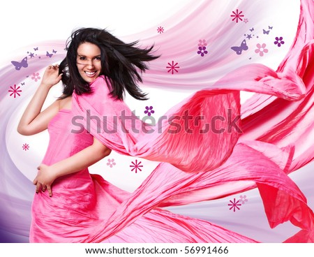 beautiful girl with a pink dress and flying hair