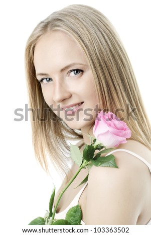Beautiful girl  with a rose on a white background