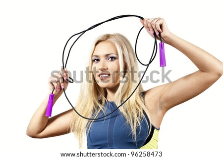 beautiful girl with a skipping rope