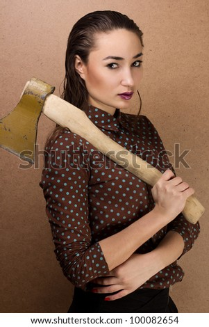beautiful girl with axe
