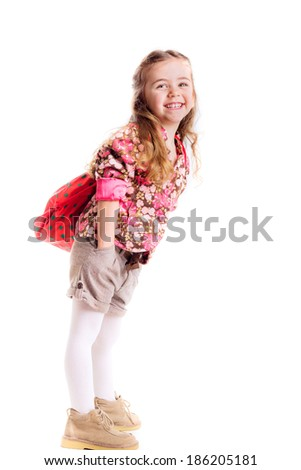 beautiful   girl with  backpack, school, learning, knowledge, isolated on white background