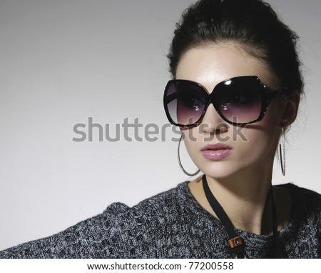 beautiful girl with big black glasses-close up