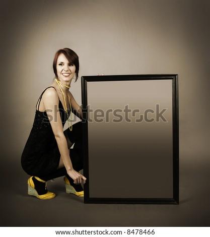 beautiful girl with billboard (sepia)
