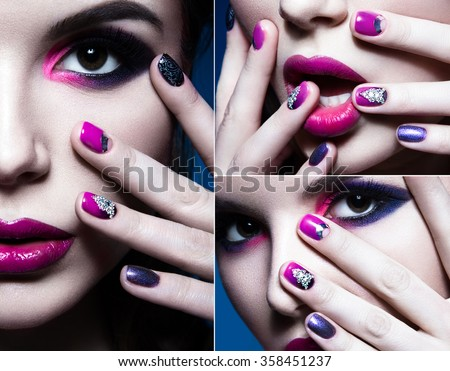 Beautiful girl with bright creative fashion makeup and colorful nail polish. Art beauty design. collage.