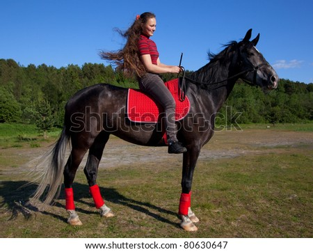 Beautiful girl with brown hair on a black horse against a blue sky and the forest