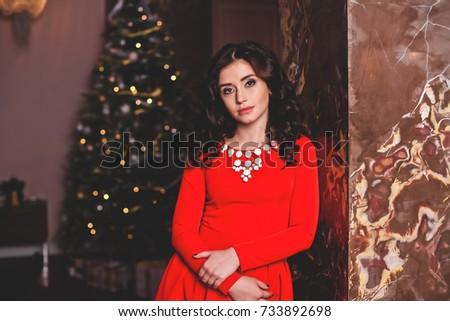 Beautiful girl with Christmas tree/Christmas/new year 2018 #733892698