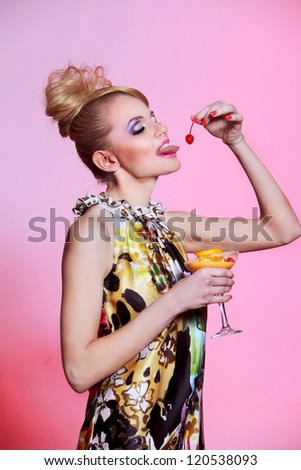beautiful girl with cocktail #120538093