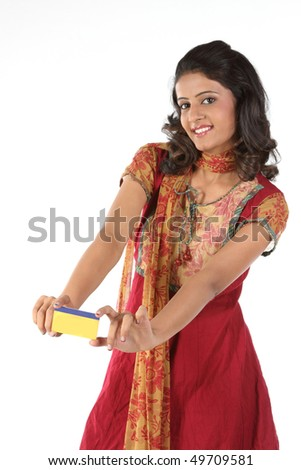 Beautiful girl with credit card